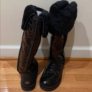 Ugg Bailey Button Bling Sequin OTK Boots 7 Black